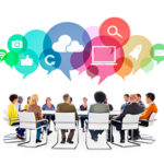Multiethnic People in a Meeting with Social Media Symbols